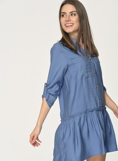 Loves You Robadan Büzgülü Apolet Kol Gömlek Elbise Mavi